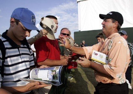 Tom Purtzer takes time to sign autographs after winning the 3M Championship, August 7, 2005, held at the TPC of the Twin Cities, Blaine, Minnesota. Purtzer finished -15 holding off Craig Stadler and Lonnie Nielsen for a one shot victory.Photo by Gregory Shamus/WireImage.com