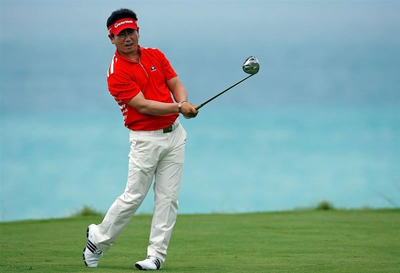SOUTHAMPTON, BERMUDA - OCTOBER 21:  Y.E. Yang of South Korea, the 2009 PGA Championship winner, hits his tee shot on the 9th hole during the final round of the PGA Grand Slam of Golf on October 21, 2009 at Port Royal Golf Course in Southampton, Bermuda.  (Photo by Andy Lyons/Getty Images)
