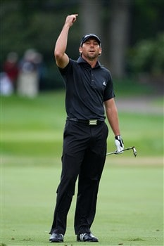 BLOOMFIELD HILLS, MI - AUGUST 10:  Sergio Garcia of Spain reacts to his approach shot on the 15th tee during the final round of the 90th PGA Championship at Oakland Hills Country Club on August 10, 2008 in Bloomfield Township, Michigan.  (Photo by Stuart Franklin/Getty Images)
