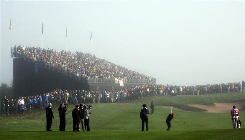 NEWPORT, WALES - OCTOBER 04:  Jim Furyk of the USA watches his approach shot on the first hole in the singles matches during the 2010 Ryder Cup at the Celtic Manor Resort on October 4, 2010 in Newport, Wales.  (Photo by Jamie Squire/Getty Images)
