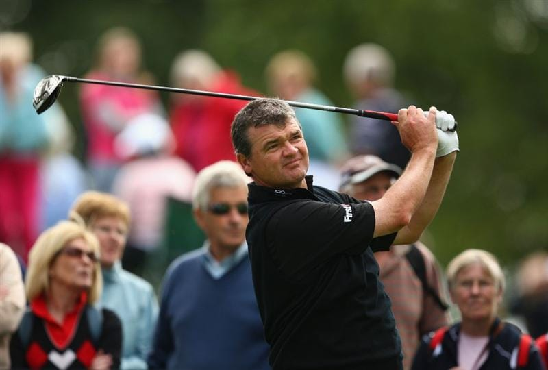 LUSS, SCOTLAND - JULY 08:  Paul Lawrie of Scotland tees off during the Pro Am prior to The Barclays Scottish Open at Loch Lomond Golf Club on July 08, 2009 in Luss, Scotland.  (Photo by Richard Heathcote/Getty Images)