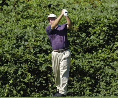 Mark McCumber follows his shot during the final round of the JELD-WEN Tradition at The Reserve Vineyards & Golf Club in Aloha, Oregon on, August 27, 2006.Photo by Steve Levin/WireImage.com
