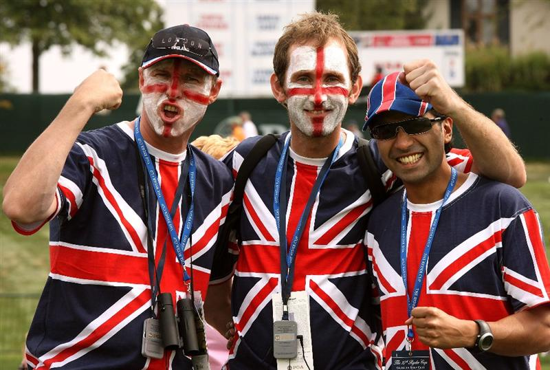 LOUISVILLE, KY - SEPTEMBER 20:  European team supporters attend the afternoon four-ball matches on day two of the 2008 Ryder Cup at Valhalla Golf Club on September 20, 2008 in Louisville, Kentucky.  (Photo by David Cannon/Getty Images)