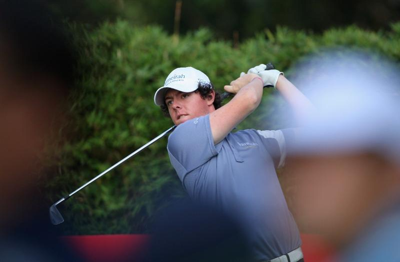 HONG KONG, CHINA - NOVEMBER 21:  Rory McIlroy of Northern Ireland plays his tee shot on the 17th hole during the second round of the UBS Hong Kong Open at the Hong Kong Golf Club on November 21, 2008 in Fanling, Hong Kong.  (Photo by Stuart Franklin/Getty Images)