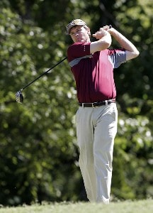 Bob Estes hits his tee shot on the 17th hole during the second round of the Southern Farm Bureau Classic at Annandale Golf Club in Madison, Mississippi, on September 29, 2006. Photo by Hunter Martin/WireImage.com