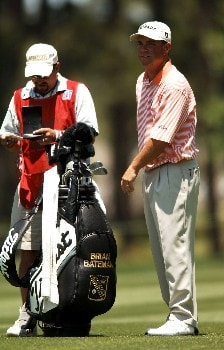 Brian Bateman and his caddy check the yardage on the fourth fairway during the final round of the 2005 Shell Houston Open at the Redstone Golf Club in Houston, Texas April 24, 2005.Photo by Steve Grayson/WireImage.com