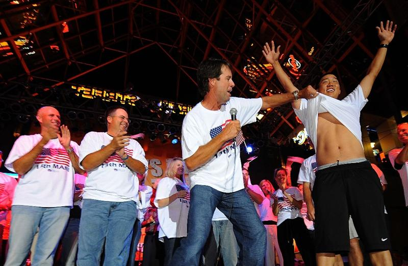 LOUISVILLE, KY - SEPTEMBER 18: USA team captain Paul Azinger clowns around with Anthony Kim and his team at the downtown Ryder Cup pep rally prior to the start of the 2008 Ryder Cup on September 18, 2008 in Louisville, Kentucky. (Photo by Sam Greenwood/Getty Images)