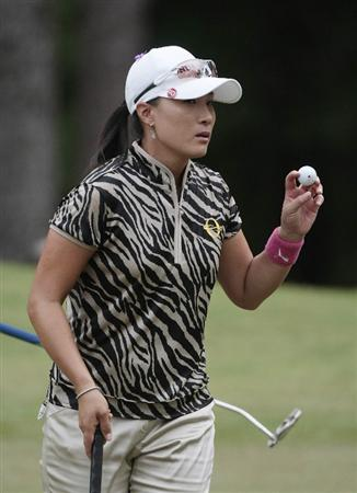 MOBILE, AL - MAY 15:  Se Ri Pak of South Korea waves after completing play on the 11th hole during third round play in the Bell Micro LPGA Classic at the Magnolia Grove Golf Course on May 15, 2010 in Mobile, Alabama.  (Photo by Dave Martin/Getty Images)