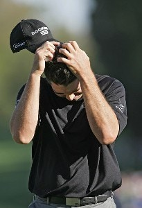 Arron Oberholser reacts after finishing his final round of the 2007 Wachovia Championship held at Quail Hollow Country Club in Charlotte, North Carolina on May 6, 2007. PGA TOUR - 2007 Wachovia Championship - Final RoundPhoto by Richard Schultz/WireImage.com