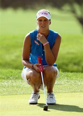 DUBAI, UNITED ARAB EMIRATES - DECEMBER 12:  Marianne Skarpnord of Norway lines up a putt at the 6th hole during the second round of the Dubai Ladies Masters on the Majilis Course at the Emirates Golf Club on December 12, 2008 in Dubai,United Arab Emirates  (Photo by David Cannon/Getty Images)