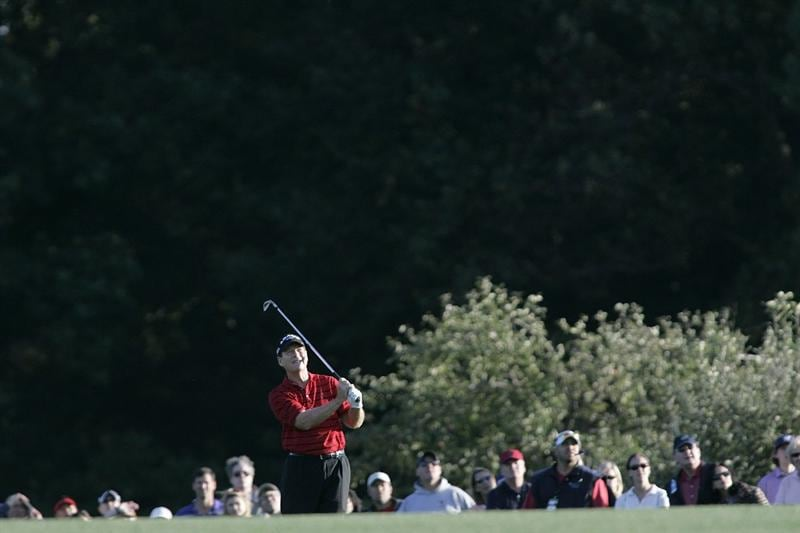 TIMONIUM, MD - OCTOBER 04: Tom Watson hits his second shot on the 16th hole during the final round of the Constellation Energy Senior Players Championship at Baltimore Country Club/Five Farms (East Course) held on October 4, 2009 in Timonium, Maryland (Photo by Michael Cohen/Getty Images)
