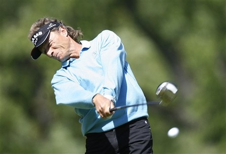 ROCHESTER, NY - MAY 24: Bernhard Langer of Germany hits his tee shot on the 9th hole during the third round of the 69th Senior PGA Championship at Oak Hill Country Club - East Course on May 24, 2008 in Rochester, New York. (Photo by Hunter Martin/Getty Images)