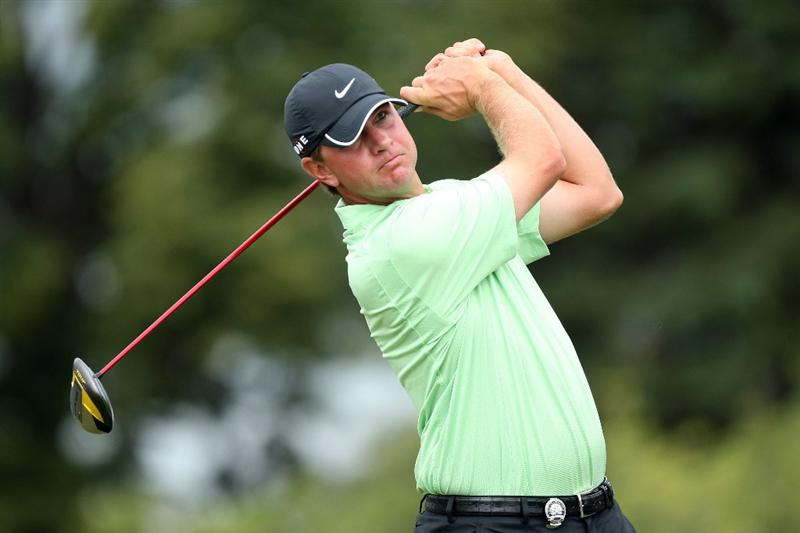 CHASKA, MN - AUGUST 16:  Lucas Glover hits his tee shot on the first hole during the final round of the 91st PGA Championship at Hazeltine National Golf Club on August 16, 2009 in Chaska, Minnesota.  (Photo by David Cannon/Getty Images)