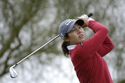 Aree Song tees off the 5th hole during Sunday's final round of the 2006 Safeway International at Superstition Mountain Golf and Country Club in Phoenix, Arizona on March 19, 2006.Photo by Marc Feldman/WireImage.com