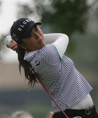 ROGERS, AR - SEPTEMBER 12: M.J. Hur of South Korea watches her drive from the ninth tee during second round play in the P&G Beauty NW Arkansas Championship at the Pinnacle Country Club on September 12, 2009 in Rogers, Arkansas.  (Photo by Dave Martin/Getty Images)