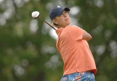 Michelle McGann in action during the first round of the 2006 Franklin American Mortgage Championship benefiting the Monroe Carell Jr. Children's Hospital at Vanderbilt at Vanderbilt Legends Club in Franklin, Tennessee on May 4, 2006.Photo by Steve Grayson/WireImage.com