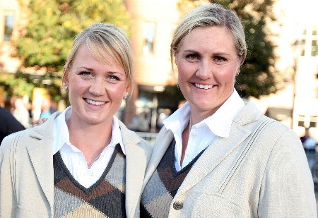 HALMSTAD, SWEDEN - SEPTEMBER 13:  Linda Wessberg and Maria Hjorth of Europe during the Opening Ceremony in the town square prior to the start of the Solheim Cup at on September 13, 2007 in Halmstad, Sweden.  (Photo by Scott Halleran/Getty Images)