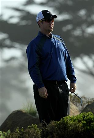 PEBBLE BEACH, CA - FEBRUARY 13:  David Duval waits on the tee on the 10th hole during the third round of the AT&T Pebble Beach National Pro-Am at Monterey Peninsula Country Club on February 13, 2010 in Pebble Beach, California.  (Photo by Stephen Dunn/Getty Images)