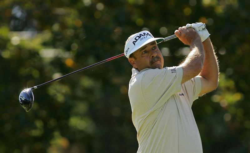 TIMONIUM, MD - OCTOBER 12:  Brad Bryant hits his drive on the first tee during the final round of the Constellation Energy Senior Players Championship at Baltimore Country Club East Course held on October 12, 2008 in Timonium, Maryland  (Photo by Michael Cohen/Getty Images)