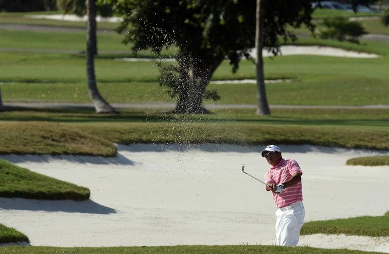 DORAL, FL - MARCH 14:  Prayad Marksaeng of Thailand plays his second shot at the 16th hole during the third round of the World Golf Championships-CA Championship at the Doral Golf Resort & Spa on March 14, 2009 in Miami, Florida  (Photo by David Cannon/Getty Images)