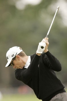Nick O'Hern  hits an iron shot during the final round of the 2005 Smurfit European Open on the Palmer Course at the K Club, July 3, 2005.Photo by Pete Fontaine/WireImage.com