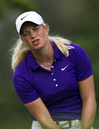 CHON BURI, THAILAND - FEBRUARY 21:  Suzann Pettersen of Norway reacts to her tees off on the 12th hole during the final round of the Honda PTT LPGA Thailand at Siam Country Club on February 21, 2010 in Chon Buri, Thailand.  (Photo by Victor Fraile/Getty Images)