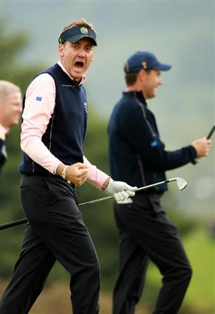 NEWPORT, WALES - SEPTEMBER 30:  Ian Poulter of Europe reacts during a practice round prior to the 2010 Ryder Cup at the Celtic Manor Resort on September 30, 2010 in Newport, Wales.  (Photo by Andrew Redington/Getty Images)