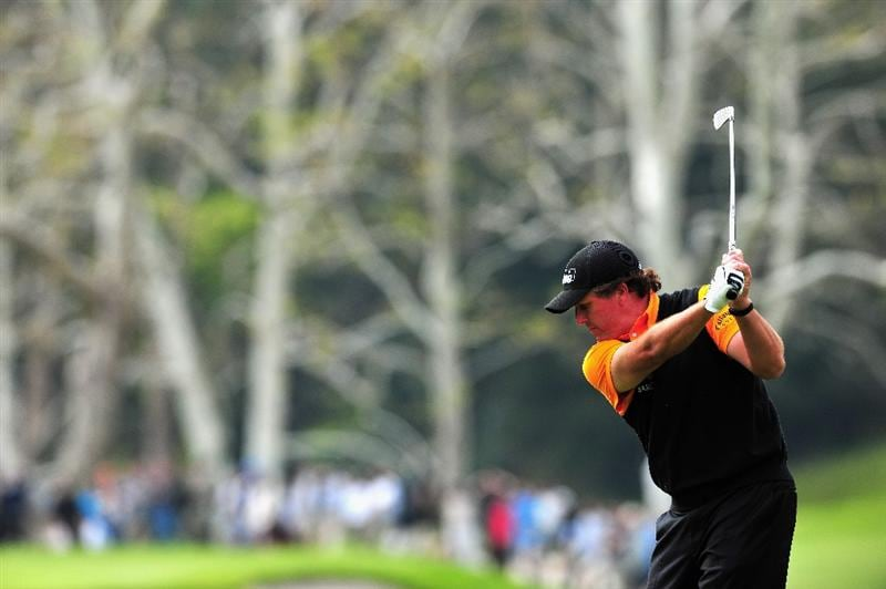 PACIFIC PALISADES, CA - FEBRUARY 21:  Phil Mickelson of USA plays his approach shot on the 15th hole during the third round of the Northern Trust Open at the Riviera Country Club February 21, 2009 in Pacific Palisades, California.  (Photo by Stuart Franklin/Getty Images)