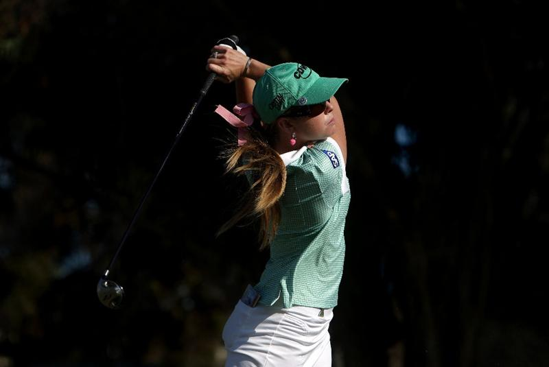 LA JOLLA, CA - SEPTEMBER 17:  Paula Creamer tees off the 16th hole during the first round of the LPGA Samsung World Championship on September 17, 2009 at Torrey Pines Golf Course in La Jolla, California.  (Photo By Donald Miralle/Getty Images)