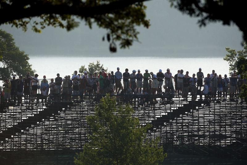 CHASKA, MN - AUGUST 13:  Fans watch the play at the 10th and 16th holes during the first round of the 91st PGA Championship at Hazeltine National Golf Club on August 13, 2009 in Chaska, Minnesota.  (Photo by David Cannon/Getty Images)