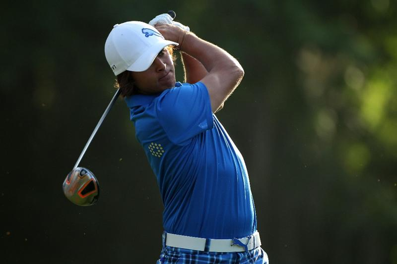 PONTE VEDRA BEACH, FL - MAY 04:  Rickie Fowler hits a shot during a practice round prior to the start of THE PLAYERS Championship held at THE PLAYERS Stadium course at TPC Sawgrass on May 4, 2010 in Ponte Vedra Beach, Florida.  (Photo by Scott Halleran/Getty Images)