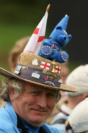 NEWPORT, WALES - OCTOBER 02:  A European team supporter watches the play during the rescheduled Afternoon Foursome Matches during the 2010 Ryder Cup at the Celtic Manor Resort on October 2, 2010 in Newport, Wales.  (Photo by Ross Kinnaird/Getty Images)