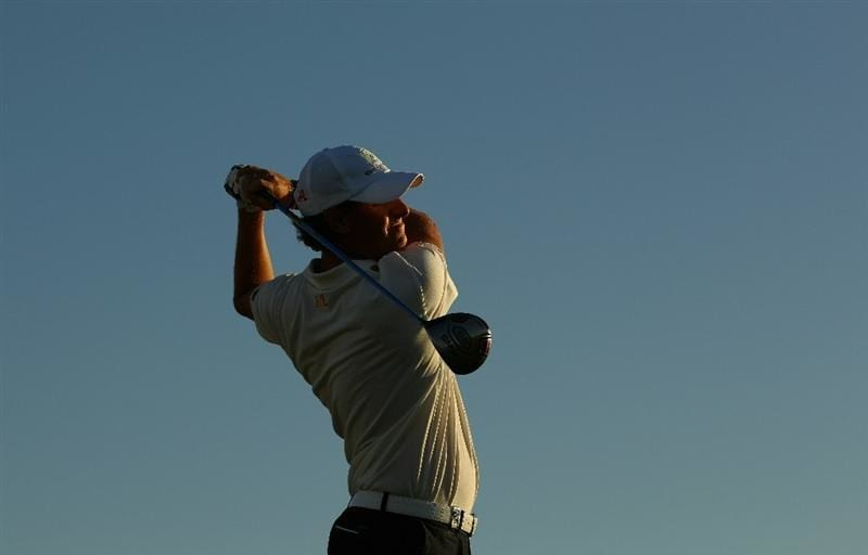 VILAMOURA, PORTUGAL - OCTOBER 15:  Maarten Lafeber of The Netherlands tee's off at the 18th during the second round of the Portugal Masters at the Oceanico Victoria Golf Course on October 15, 2010 in Vilamoura, Portugal.  (Photo by Richard Heathcote/Getty Images)