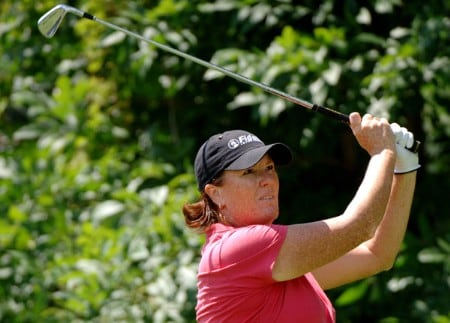 Meg Mallon  drives off the second tee, a par three, during the final round of the Jamie Farr Owens Corning Classic, July 10, 2005.Photo by Al Messerschmidt/WireImage.com