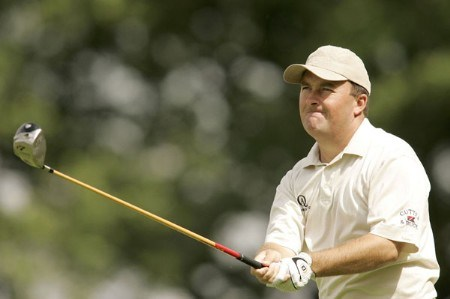 David Drysdale watches his tee shot during the rain delayed first round of the 2005 Deutsche Bank Players' Championship at Gut Kaden Golf Club in Hamburg, Germany on July 22, 2005.Photo by Pete Fontaine/WireImage.com