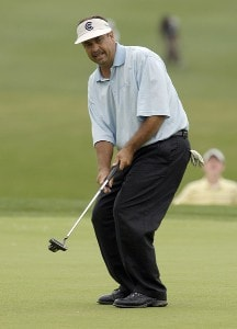 Brad Bryant reacts to his final putt on the 18th green during the third and final round of the Regions Charity Classic held at Robert Trent Jones Golf Trail at Ross Bridge in Birmingham, AL, on May 7, 2006.Photo by Steve Levin/WireImage.com