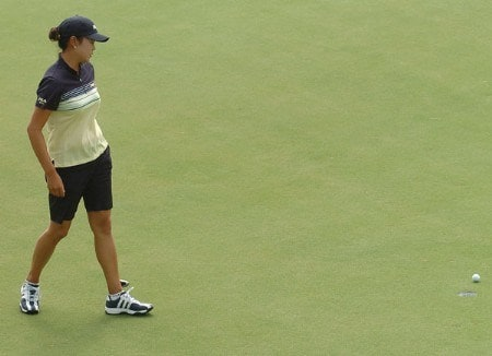 Hee-Won Han watches the lie of her putt on the 12th green during the second round of the 2005 Office Depot Championship at Trump National Golf Club Los Angeles in Rancho Palos Verdes, California October 1, 2005.Photo by Steve Grayson/WireImage.com