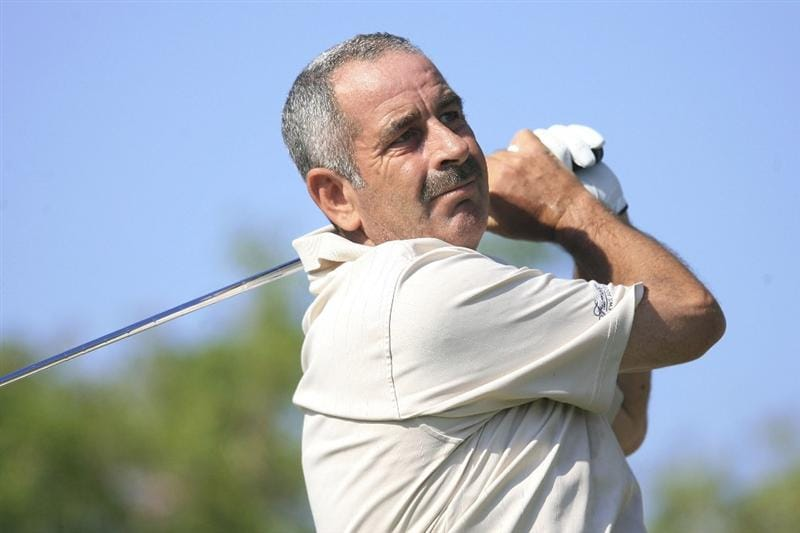 MARBELLA, SPAIN - OCTOBER 16:  Sam Torrance of Scotland plays his tee shot during the first round of the Benahavis Senior Masters at La Quinta Golf & Country Club on October 16, 2009 in Marbella, Spain.  (Photo by Phil Inglis/Getty Images)