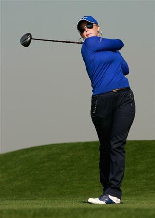 INCHEON, SOUTH KOREA - OCTOBER 29:  Morgan Pressel of United States hits a tee shot on the 13th hole during the 2010 LPGA Hana Bank Championship at Sky 72 golf club on October 29, 2010 in Incheon, South Korea.  (Photo by Chung Sung-Jun/Getty Images)