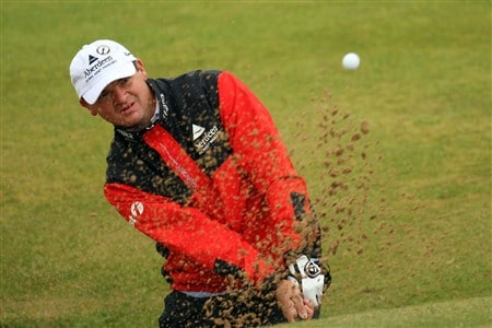 SOUTHPORT, UNITED KINGDOM - JULY 18:  Paul Lawrie of Scotland plays out of a bunker on 13th during the second round of the 137th Open Championship on July 18, 2008 at Royal Birkdale Golf Club, Southport, England.  (Photo by Ross Kinnaird/Getty Images)