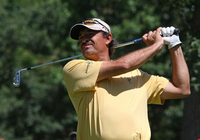 MILWAUKEE - JULY 16: Carlos Franco tees off on the 7th hole during the first round of the U.S. Bank Championship on July 16, 2009 at the Brown Deer Park golf course in Milwaukee, Wisconsin. (Photo by Jonathan Daniel/Getty Images)
