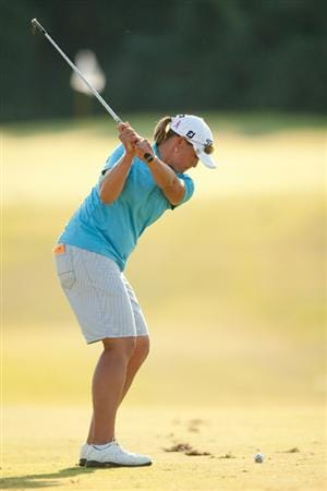 PRATTVILLE, AL - OCTOBER 10: Katherine Hull of Australia hits an approach shot during the final round of the Navistar LPGA Classic at the Senator Course at the Robert Trent Jones Golf Trail on October 10, 2010 in Prattville, Alabama. (Photo by Darren Carroll/Getty Images)