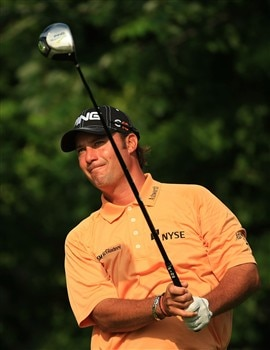 PONTE VEDRA BEACH, FL - MAY 09:  Chris DiMarco watches his tee shot on the fifth hole during the second round of THE PLAYERS Championship on THE PLAYERS Stadium Course at TPC Sawgrass on May 9, 2008 in Ponte Vedra Beach, Florida.  (Photo by Richard Heathcote/Getty Images)