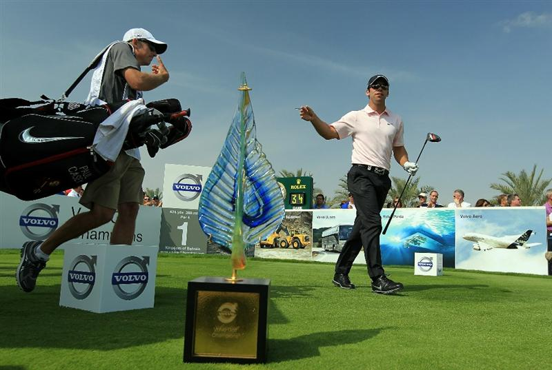 BAHRAIN, BAHRAIN - JANUARY 30:  Paul Casey of England plays his tee shot at the 1st hole during the final round of the 2011 Volvo Champions held at the Royal Golf Club on January 30, 2011 in Bahrain, Bahrain.  (Photo by David Cannon/Getty Images)