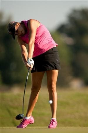 PRATTVILLE, AL - OCTOBER 8: Alexis Thompson follows through on a tee shot during the second round of the Navistar LPGA Classic at the Senator Course at the Robert Trent Jones Golf Trail on October 8, 2010 in Prattville, Alabama. (Photo by Darren Carroll/Getty Images)