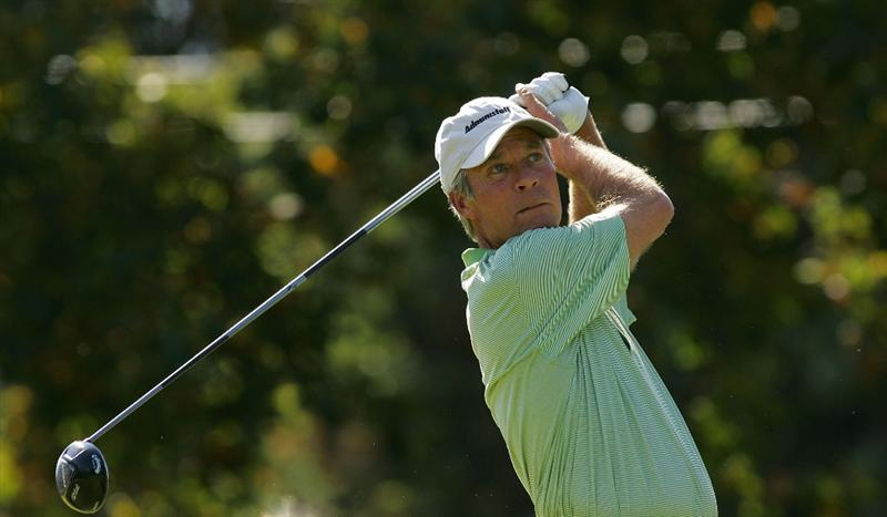 TIMONIUM, MD - OCTOBER 12:  Ben Crenshaw hits his tee shot on the first hole during the final round of the Constellation Energy Senior Players Championship at Baltimore Country Club East Course held on October 12, 2008 in Timonium, Maryland  (Photo by Michael Cohen/Getty Images)
