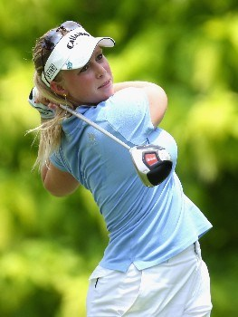 SINGAPORE - FEBRUARY 28:  Morgan Pressel of the USA on the par four 6th hole during the first round of the HSBC Women's Champions at the Tanah Merah Country Club on February 28, 2008 in Singapore.  (Photo by Ross Kinnaird/Getty Images)