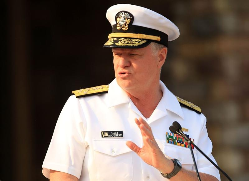PONTE VEDRA BEACH, FL - MAY 11:  Admiral Gary Roughead addresses the crowd during the Military Appreciation Ceremony prior to the start of THE PLAYERS Championship held at THE PLAYERS Stadium course at TPC Sawgrass on May 11, 2011 in Ponte Vedra Beach, Florida.  (Photo by Streeter Lecka/Getty Images)