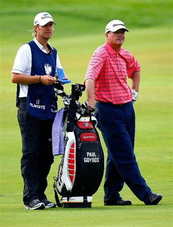 JERSEY CITY, NJ - AUGUST 29:  Paul Goydos (R) and his caddie wait to play the second shot in the 17th fairway during round three of The Barclays on August 29, 2009 at Liberty National in Jersey City, New Jersey.  (Photo by Kevin C. Cox/Getty Images)