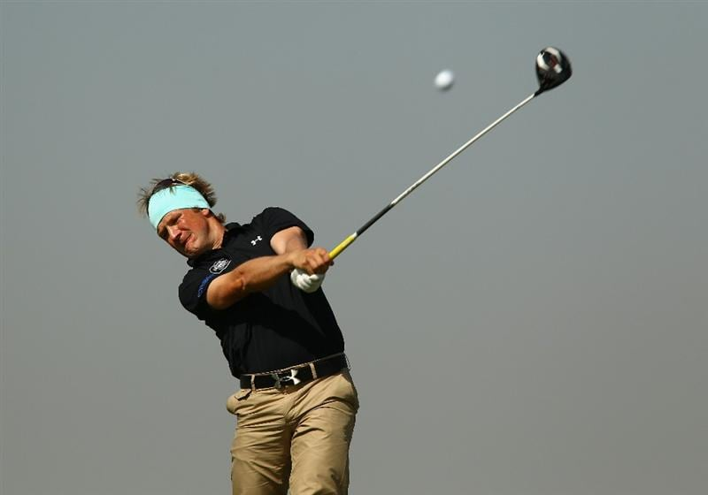 ALMATY, KAZAKHSTAN - SEPTEMBER 10:  Pelle Edberg of Sweden in action during the second round of the Kazakhstan Open at the Zhailjau Golf Resort on September 10, 2010 in Almaty, Kazakhstan.  (Photo by Richard Heathcote/Getty Images)